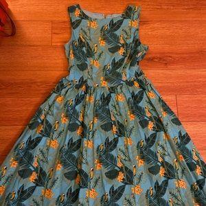 Lindy Bop Tropical Parrots Fit & flare swing dress